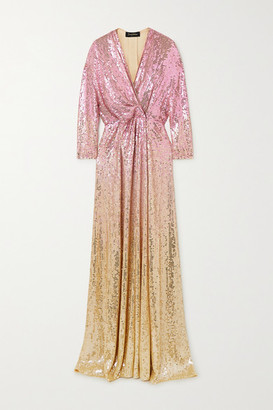 Jenny Packham Gina Ombre Sequined Chiffon Wrap Gown - Pink