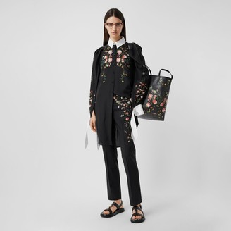 Burberry Rose Print Silk Crepe De Chine Shirt Dress