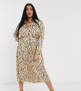 Asos DESIGN Curve satin midi shirt dress in abstract animal print