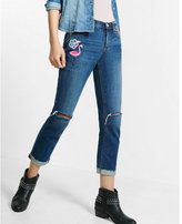 Express embroidered distressed raw hem girlfriend jeans