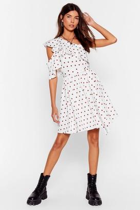 Nasty Gal Womens One Shoulder Polka Dot Ruffle Dress - White