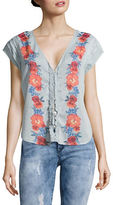 Free People Floral Button-Front Top