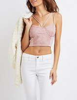 Charlotte Russe Strappy Lace-Panel Bustier Crop Top
