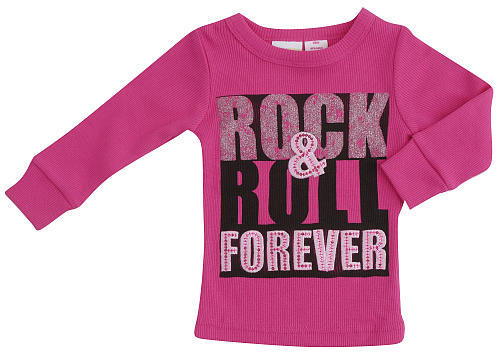 Amy Coe Girls Rock N Roll Forever Shirt - Hot Pink (6-9 Months)