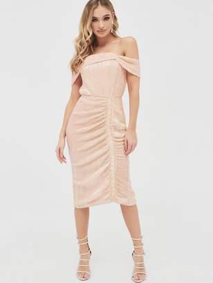 Lavish Alice Off Shoulder Sequin Ruched Midi Dress - Light Pink