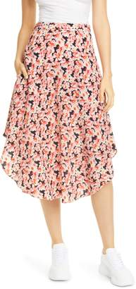 Stella McCartney Floral Round Hem Silk Midi Skirt