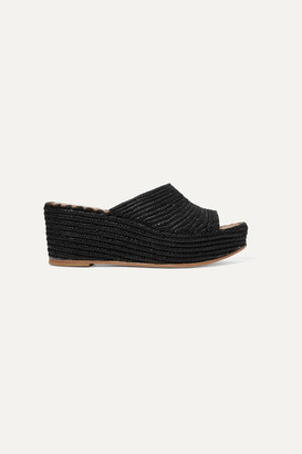 Carrie Forbes Karim Woven Raffia Wedge Sandals - Black