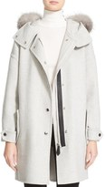 Burberry Women's Meldonbridge Hooded Coat With Genuine Fox Fur Trim