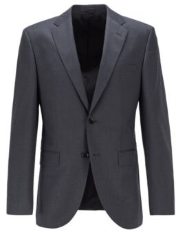 BOSS Regular-fit jacket in virgin-wool serge with AMF stitching