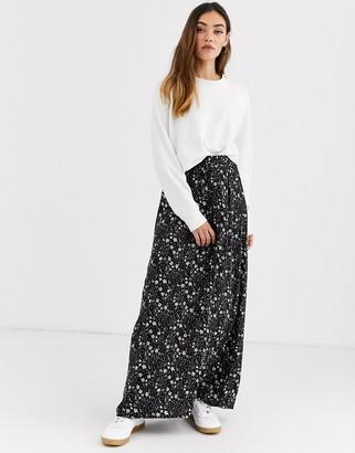Ichi floral maxi skirt