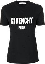 Givenchy distressed logo print T-shirt - women - Cotton - XS