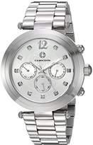 Cabochon Women's 'Papillon' Quartz Stainless Steel Watch, Color:Silver-Toned (Model: 10263-22)