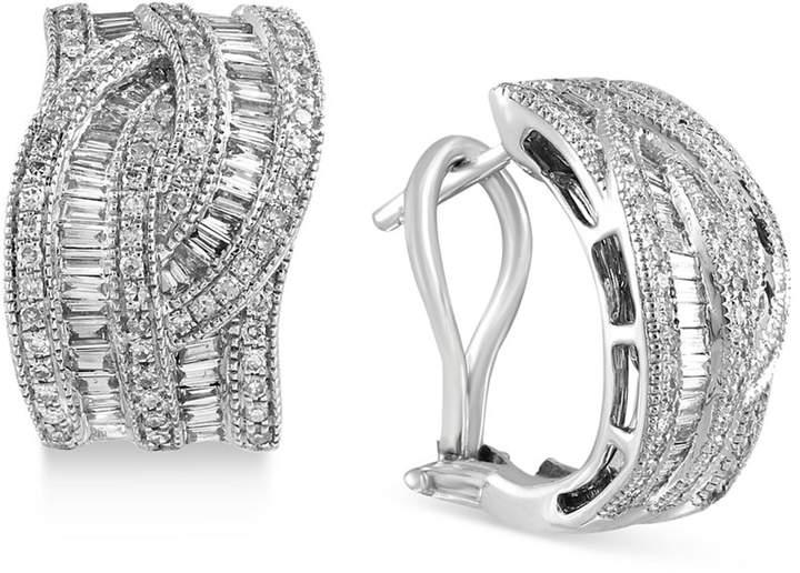 Effy Classique by Diamond Interwoven Hoop Earrings (1-3/8 ct. t.w.) in 14k Gold & White Gold