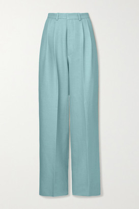 Dodo Bar Or Coco Pleated Wool-blend Wide-leg Pants - Light blue