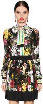Dolce & Gabbana Floral Printed Silk Twill Shirt W/ Bow