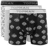 Topman Black and White Eyes Trunks 3 Pack*