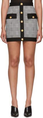 Balmain Black and White Houndstooth Miniskirt