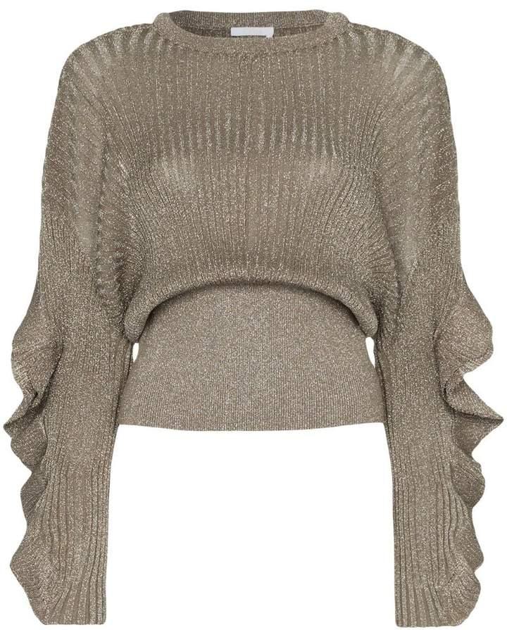 Chloé frill sleeve lurex silk blend top
