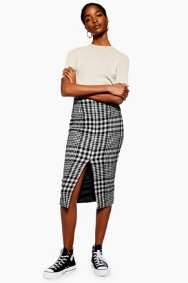 Topshop Womens **Split Front Pencil Skirt By Boutique - Monochrome