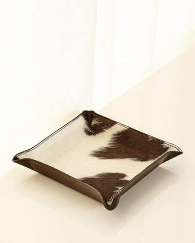Graphic Image Calf Hair Valet Tray, White/Black