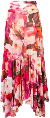 MSGM Pleated Floral Skirt