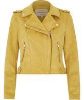 River Island Womens Yellow faux suede biker jacket