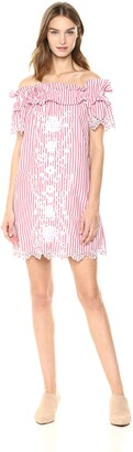 Parker Women's Cable Off The Shoulder Striped Cotton Short Dress