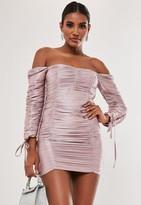 Missguided Blush Ruched Bardot Mini Dress