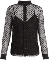RED Valentino Floral polka dot-flocked layered tulle blouse