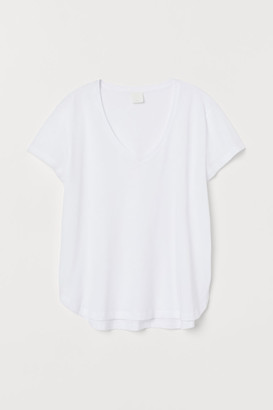 H&M V-neck Cotton T-shirt - White