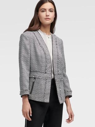 DKNY Women's Open Front Tweed Jacket - Black Combo - Size 00