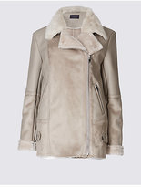 M&S Collection Faux Leather Shearling Jacket