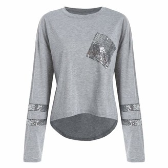 Toamen Women's Tops T-Shirt Sale 2019 New Ladies Casual Long Sleeve Striped Sequin Patchwork Loose Blouse Shirt Pullover(Gray 14)