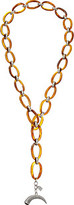 "Lauren Ralph Lauren Canyon Chic 36"" Organic Link Pave Horn Necklace"
