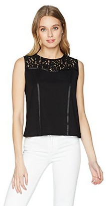 Nanette Lepore Women's Slvls Corset Lace Trim Knit Top
