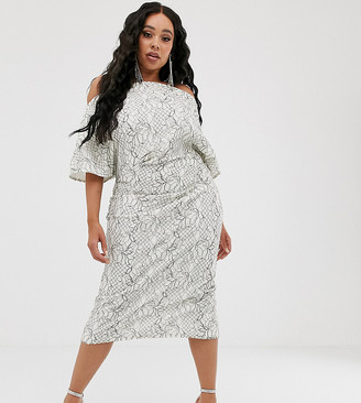 ASOS DESIGN Curve fallen shoulder lace midi dress