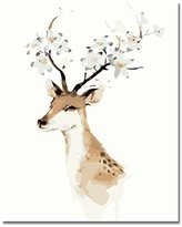 Rihe DIY Oil Painting Paint By Numbers Kits with Brushes Acrylics Painting Kits on Canvas for Adults Kids Beginner - Deer 16x20 Inch(Wooden framed)