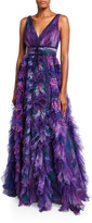 Marchesa Printed V-Neck Sleeveless Textured Tulle A-Line Gown