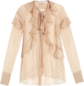 Givenchy Silk-chiffon ruffled neck-tie blouse