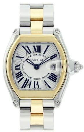 Cartier Roadster Two Tone Stainless Steel and 18K Yellow Gold Silver Roman Gold Bezel 29mm Womens Watch
