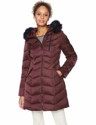 T Tahari Women's Chevron Quilted Puffer Coat