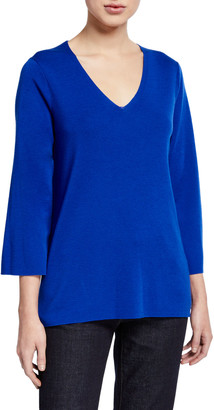 Eileen Fisher V-Neck 3/4-Sleeve Merino Wool Top