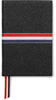 Thom Browne Small Striped Pebble-grain Leather Notebook - Black