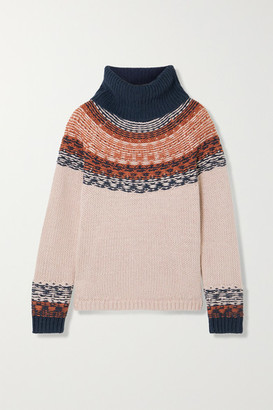 Madewell Senya Fair Isle Cotton-blend Turtleneck Sweater - Pink