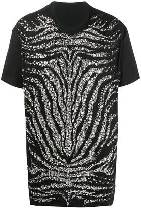 Balmain crystal-embellished zebra T-shirt