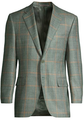 Canali Wool, Silk & Linen Windowpane Jacket