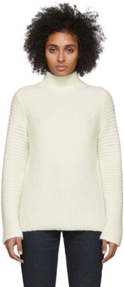 Helmut Lang White Wool and Alpaca High Neck Turtleneck