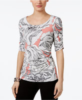 Alfani Printed Ruched Top, Only at Macy's