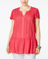 American Rag Trendy Plus Size Linen Ruffled Peplum Top, Only at Macy's