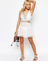 Asos Daisy Trim Skater Beach Skirt Co-ord